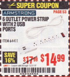 Harbor Freight Coupon 6 OUTLET POWER STRIP WITH 2 USB PORTS Lot No. 64411 Expired: 12/31/18 - $14.99