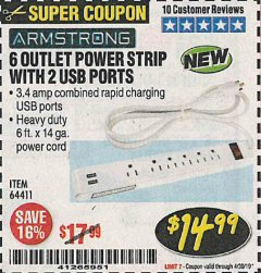 Harbor Freight Coupon 6 OUTLET POWER STRIP WITH 2 USB PORTS Lot No. 64411 Expired: 4/30/19 - $14.99