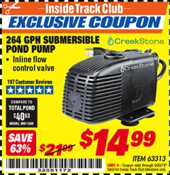 Harbor Freight ITC Coupon CREEKSTONE 264 GPH SUBMERSIBLE POND PUMP Lot No. 63313 Expired: 9/30/19 - $14.99