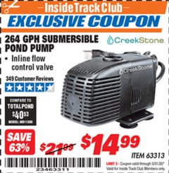 Harbor Freight ITC Coupon CREEKSTONE 264 GPH SUBMERSIBLE POND PUMP Lot No. 63313 Expired: 3/31/20 - $14.99