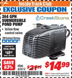 Harbor Freight ITC Coupon CREEKSTONE 264 GPH SUBMERSIBLE POND PUMP Lot No. 63313 Expired: 6/30/20 - $14.99