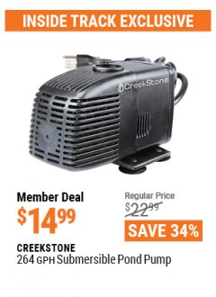 Harbor Freight ITC Coupon CREEKSTONE 264 GPH SUBMERSIBLE POND PUMP Lot No. 63313 Valid Thru: 4/29/21 - $14.99