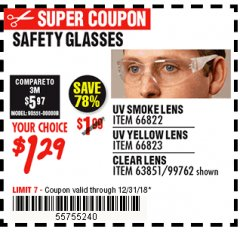 Harbor Freight Coupon SAFETY GLASSES Lot No. 66822/66823/63851/99762 Expired: 12/31/18 - $1.29