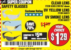 Harbor Freight Coupon SAFETY GLASSES Lot No. 66822/66823/63851/99762 Expired: 9/5/19 - $1.29