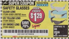 Harbor Freight Coupon SAFETY GLASSES Lot No. 66822/66823/63851/99762 Expired: 11/7/19 - $1.29