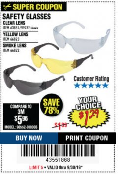 Harbor Freight Coupon SAFETY GLASSES Lot No. 66822/66823/63851/99762 Expired: 9/30/19 - $1.29