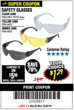 Harbor Freight Coupon SAFETY GLASSES Lot No. 66822/66823/63851/99762 Expired: 12/8/19 - $1.29