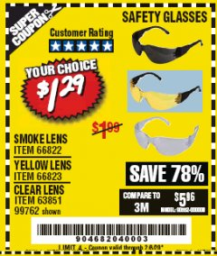 Harbor Freight Coupon SAFETY GLASSES Lot No. 66822/66823/63851/99762 Expired: 2/8/20 - $1.29