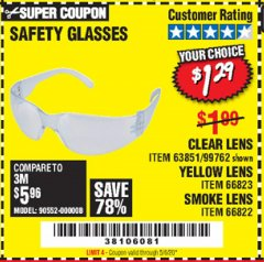 Harbor Freight Coupon SAFETY GLASSES Lot No. 66822/66823/63851/99762 Expired: 6/30/20 - $1.29