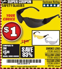 Harbor Freight Coupon SAFETY GLASSES Lot No. 66822/66823/63851/99762 Expired: 6/30/20 - $0.01