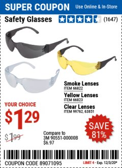 Harbor Freight Coupon SAFETY GLASSES Lot No. 66822/66823/63851/99762 Expired: 12/3/20 - $1.29