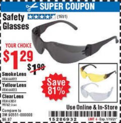 Harbor Freight Coupon SAFETY GLASSES Lot No. 66822/66823/63851/99762 Expired: 1/28/21 - $1.29