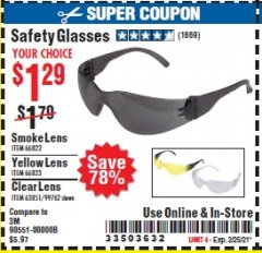 Harbor Freight Coupon SAFETY GLASSES Lot No. 66822/66823/63851/99762 Expired: 2/25/21 - $1.29