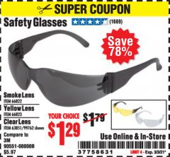 Harbor Freight Coupon SAFETY GLASSES Lot No. 66822/66823/63851/99762 Valid Thru: 3/3/21 - $1.29