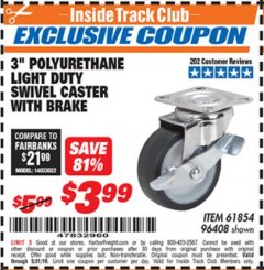 "Harbor Freight ITC Coupon 3"" POLYURETHANE SWIVEL CASTER WITH BRAKE Lot No. 61854/96408 Expired: 5/31/19 - $3.99"
