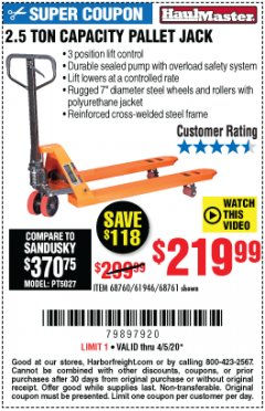 Harbor Freight Coupon 2.5 TON PALLET JACK Lot No. 68761/68760/61946 EXPIRES: 6/30/20 - $219.99