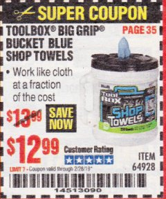 Harbor Freight Coupon TOOLBOX BIG GRIP BUCKET BLUE SHOP TOWELS Lot No. 64928 Expired: 2/28/19 - $12.99