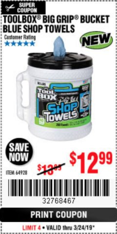 Harbor Freight Coupon TOOLBOX BIG GRIP BUCKET BLUE SHOP TOWELS Lot No. 64928 Expired: 3/24/19 - $12.99
