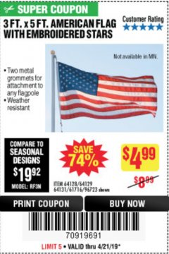 Harbor Freight Coupon 3 FT. X 5 FT. AMERICAN FLAG WITH EMBROIDERED STARS Lot No. 61716/96723/64128/64129/64131 Expired: 4/21/19 - $4.99