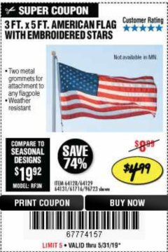 Harbor Freight Coupon 3 FT. X 5 FT. AMERICAN FLAG WITH EMBROIDERED STARS Lot No. 61716/96723/64128/64129/64131 Expired: 5/31/19 - $4.99