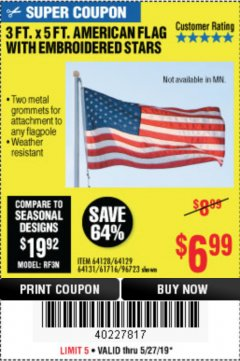 Harbor Freight Coupon 3 FT. X 5 FT. AMERICAN FLAG WITH EMBROIDERED STARS Lot No. 61716/96723/64128/64129/64131 Expired: 5/27/19 - $6.99