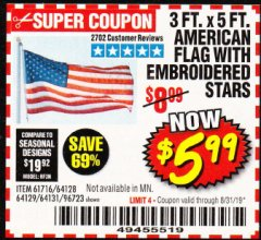 Harbor Freight Coupon 3 FT. X 5 FT. AMERICAN FLAG WITH EMBROIDERED STARS Lot No. 61716/96723/64128/64129/64131 Expired: 8/31/19 - $5.99