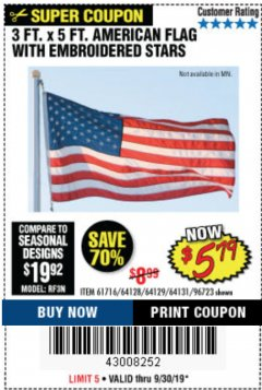 Harbor Freight Coupon 3 FT. X 5 FT. AMERICAN FLAG WITH EMBROIDERED STARS Lot No. 61716/96723/64128/64129/64131 Expired: 9/30/19 - $5.79
