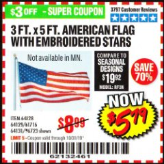Harbor Freight Coupon 3 FT. X 5 FT. AMERICAN FLAG WITH EMBROIDERED STARS Lot No. 61716/96723/64128/64129/64131 Expired: 10/31/19 - $5.99