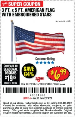 Harbor Freight Coupon 3 FT. X 5 FT. AMERICAN FLAG WITH EMBROIDERED STARS Lot No. 61716/96723/64128/64129/64131 Expired: 2/29/20 - $6.99
