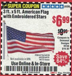 Harbor Freight Coupon 3 FT. X 5 FT. AMERICAN FLAG WITH EMBROIDERED STARS Lot No. 61716/96723/64128/64129/64131 Valid Thru: 7/31/20 - $6.99