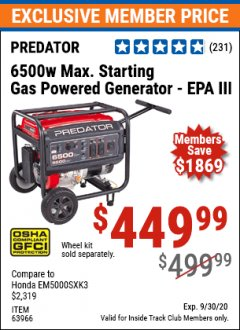 Harbor Freight ITC Coupon 6500 MAX. STARTING/5500 RUNNING WATTS 8 HP (301 CC) GAS GENERATOR Lot No. 63966/63967/63965/63964 Expired: 9/30/20 - $449.99