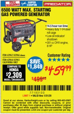 Harbor Freight Coupon 6500 MAX. STARTING/5500 RUNNING WATTS 8 HP (301 CC) GAS GENERATOR Lot No. 63966/63967/63965/63964 Expired: 1/31/20 - $459.99