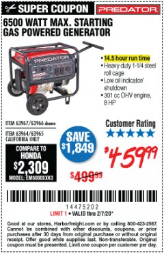 Harbor Freight Coupon 6500 MAX. STARTING/5500 RUNNING WATTS 8 HP (301 CC) GAS GENERATOR Lot No. 63966/63967/63965/63964 Expired: 2/7/20 - $459.99