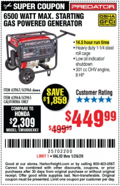 Harbor Freight Coupon 6500 MAX. STARTING/5500 RUNNING WATTS 8 HP (301 CC) GAS GENERATOR Lot No. 63966/63967/63965/63964 Expired: 1/26/20 - $449.99