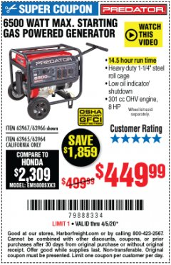 Harbor Freight Coupon 6500 MAX. STARTING/5500 RUNNING WATTS 8 HP (301 CC) GAS GENERATOR Lot No. 63966/63967/63965/63964 EXPIRES: 6/30/20 - $449.99