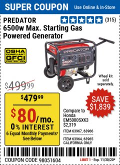 Harbor Freight Coupon 6500 MAX. STARTING/5500 RUNNING WATTS 8 HP (301 CC) GAS GENERATOR Lot No. 63966/63967/63965/63964 Expired: 10/28/20 - $479.99