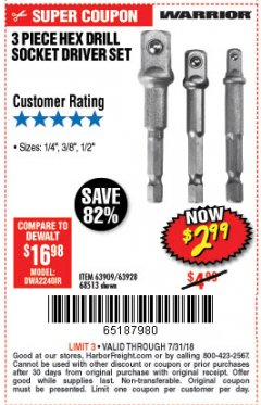 Harbor Freight Coupon 3 PIECE HEX DRILL SOCKET DRIVER SET Lot No. 63909/42191/63928/68513 Expired: 7/31/18 - $2.99