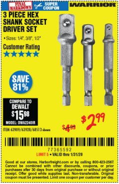 Harbor Freight Coupon 3 PIECE HEX DRILL SOCKET DRIVER SET Lot No. 63909/42191/63928/68513 Expired: 1/31/20 - $2.99