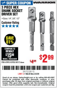 Harbor Freight Coupon 3 PIECE HEX DRILL SOCKET DRIVER SET Lot No. 63909/42191/63928/68513 Expired: 2/2/20 - $2.99