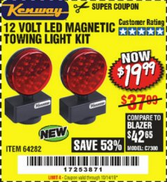 Harbor Freight Coupon 12 VOLT LED MAGNETIC TOWING LIGHT KIT Lot No. 64282 Expired: 10/14/19 - $19.99