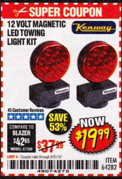 Harbor Freight Coupon 12 VOLT LED MAGNETIC TOWING LIGHT KIT Lot No. 64282 Expired: 8/31/19 - $19.99