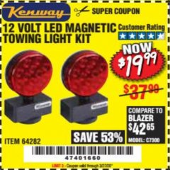 Harbor Freight Coupon 12 VOLT LED MAGNETIC TOWING LIGHT KIT Lot No. 64282 Expired: 3/27/20 - $19.99