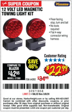 Harbor Freight Coupon 12 VOLT LED MAGNETIC TOWING LIGHT KIT Lot No. 64282 Expired: 2/8/20 - $22.99