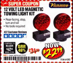 Harbor Freight Coupon 12 VOLT LED MAGNETIC TOWING LIGHT KIT Lot No. 64282 Expired: 3/31/20 - $22.99