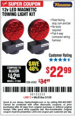 Harbor Freight Coupon 12 VOLT LED MAGNETIC TOWING LIGHT KIT Lot No. 64282 Expired: 3/1/20 - $22.99