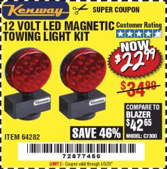 Harbor Freight Coupon 12 VOLT LED MAGNETIC TOWING LIGHT KIT Lot No. 64282 Valid Thru: 6/30/20 - $22.99
