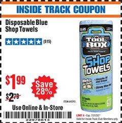 Harbor Freight ITC Coupon DISPOSABLE BLUE SHOP TOWELS Lot No. 64395 Expired: 7/31/20 - $1.99