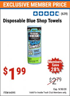 Harbor Freight ITC Coupon DISPOSABLE BLUE SHOP TOWELS Lot No. 64395 Expired: 9/30/20 - $1.99