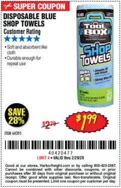 Harbor Freight Coupon DISPOSABLE BLUE SHOP TOWELS Lot No. 64395 Expired: 2/29/20 - $1.99