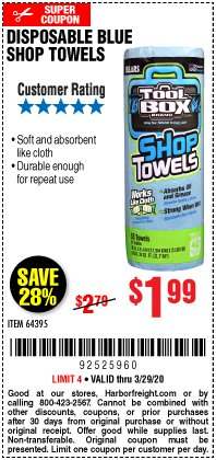 Harbor Freight Coupon DISPOSABLE BLUE SHOP TOWELS Lot No. 64395 Expired: 3/29/20 - $1.99
